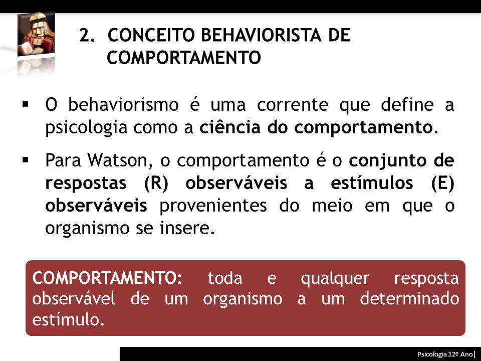 2. CONCEITO BEHAVIORISTA DE COMPORTAMENTO Psicologia 12º Ano| COMPORTAMENTO: toda e qualquer resposta observável de um organismo a um determinado estí