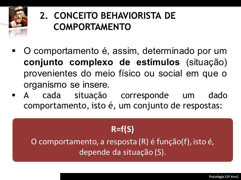 2. CONCEITO BEHAVIORISTA DE COMPORTAMENTO Psicologia 12º Ano|  O comportamento é, assim, determinado por um conjunto complexo de estímulos (situação)