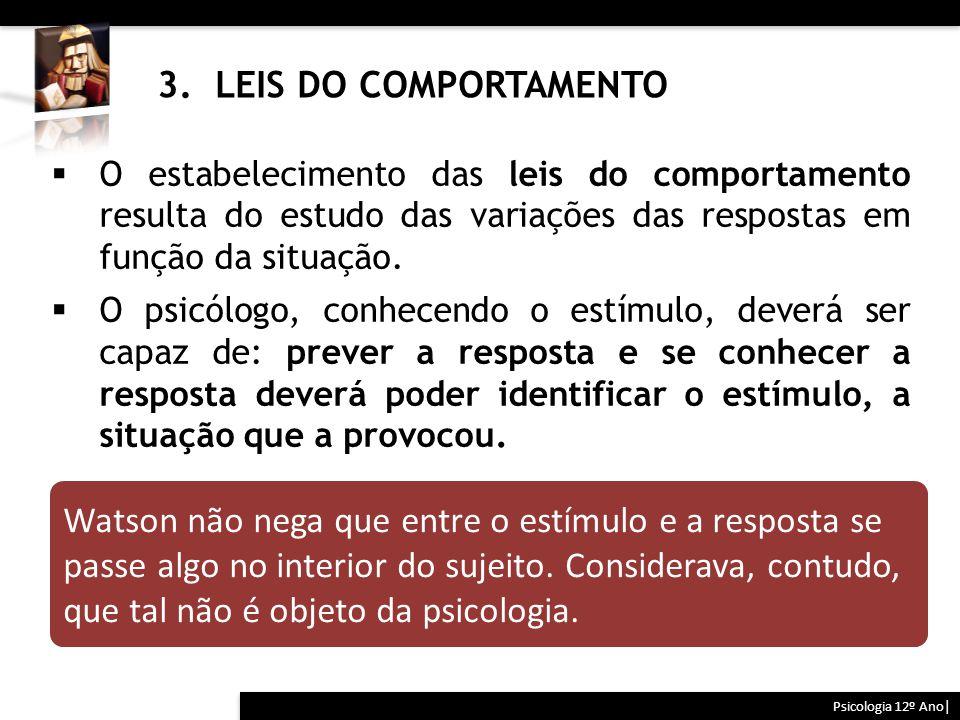 3. LEIS DO COMPORTAMENTO Psicologia 12º Ano|  O estabelecimento das leis do comportamento resulta do estudo das variações das respostas em função da