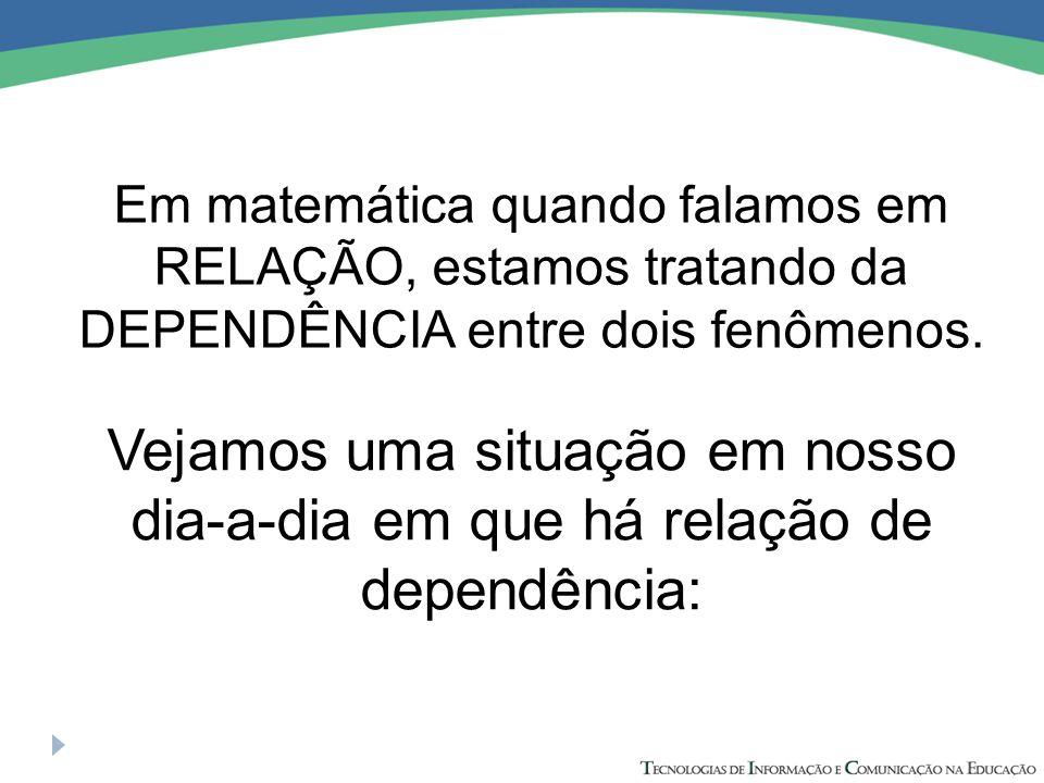 Em matemática quando falamos em RELAÇÃO, estamos tratando da DEPENDÊNCIA entre dois fenômenos.