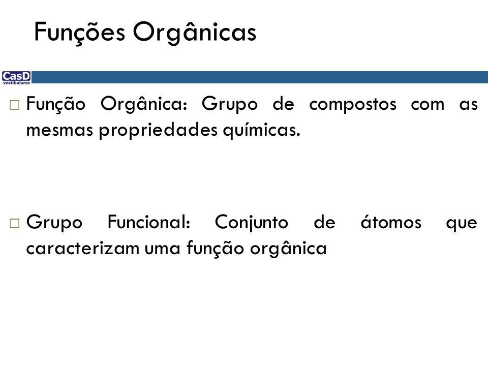 Funções Orgânicas  Função Orgânica: Grupo de compostos com as mesmas propriedades químicas.