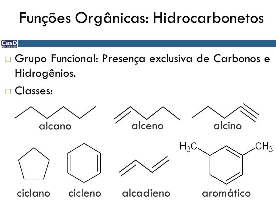 Funções Orgânicas: Hidrocarbonetos  Grupo Funcional: Presença exclusiva de Carbonos e Hidrogênios.