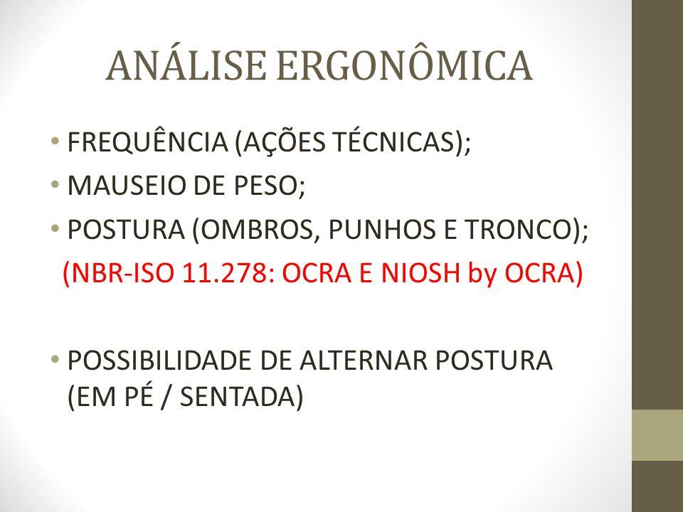 ANÁLISE ERGONÔMICA FREQUÊNCIA (AÇÕES TÉCNICAS); MAUSEIO DE PESO; POSTURA (OMBROS, PUNHOS E TRONCO); (NBR-ISO 11.278: OCRA E NIOSH by OCRA) POSSIBILIDA