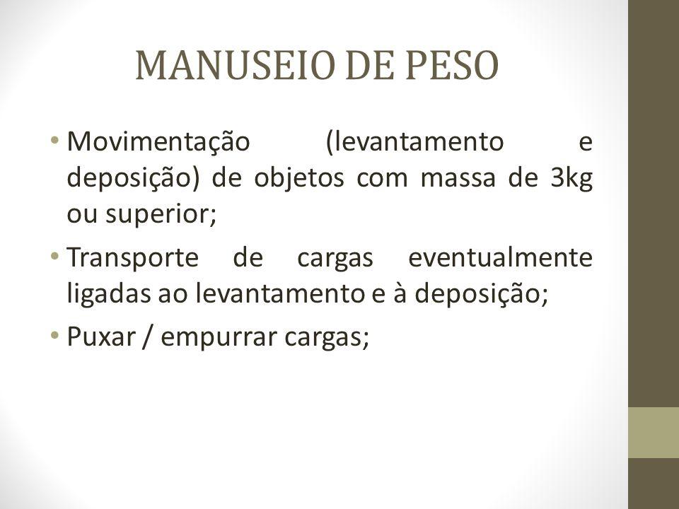 MANUSEIO DE PESO Movimentação (levantamento e deposição) de objetos com massa de 3kg ou superior; Transporte de cargas eventualmente ligadas ao levant