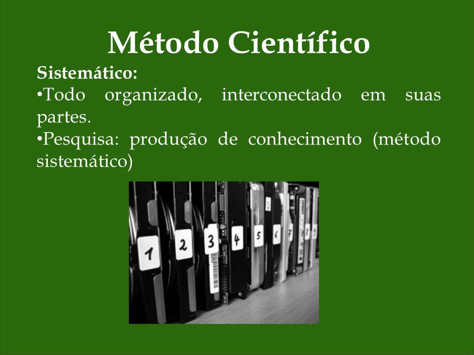 Método Científico Método indutivo/ etapas: 1.Observação dos fenômenos; 2.Descoberta da relação entre eles; 3.Generalização da relação.