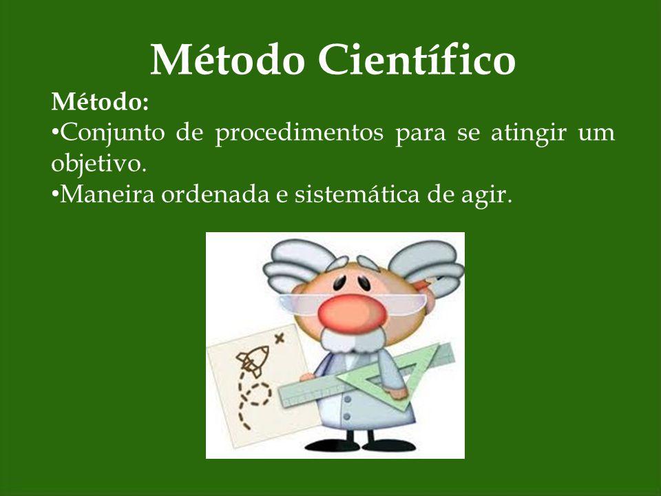 Método Científico Método: Conjunto de procedimentos para se atingir um objetivo. Maneira ordenada e sistemática de agir.