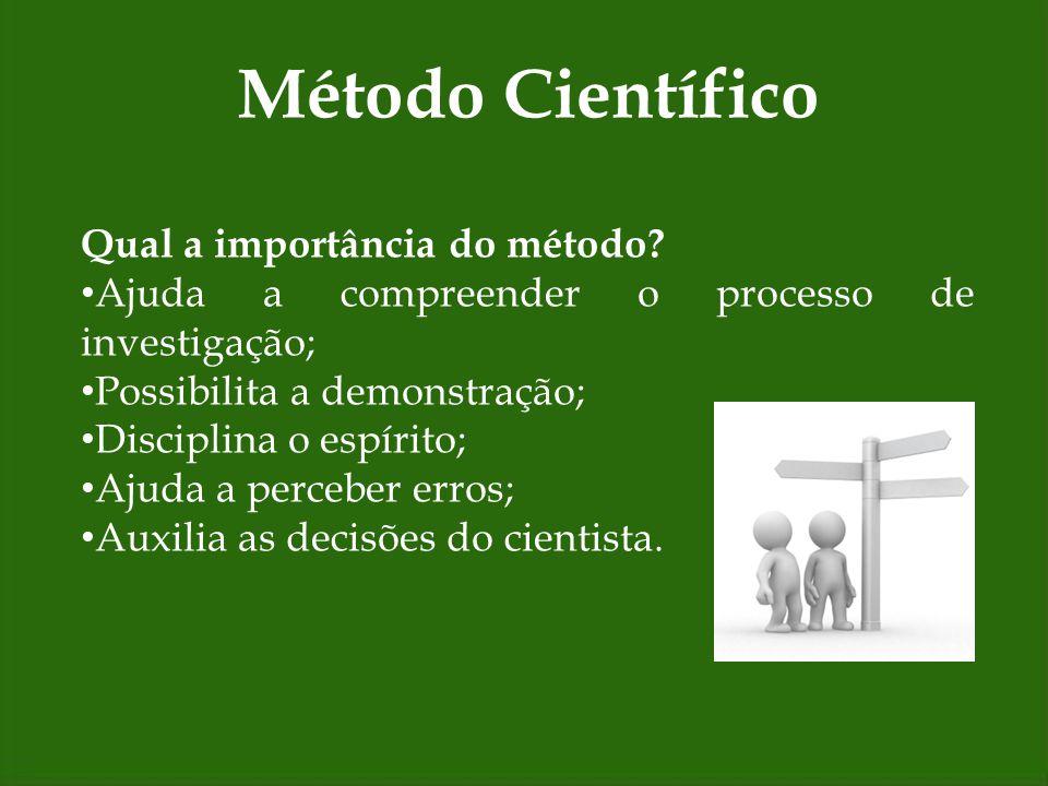 Método Científico Qual a importância do método? Ajuda a compreender o processo de investigação; Possibilita a demonstração; Disciplina o espírito; Aju