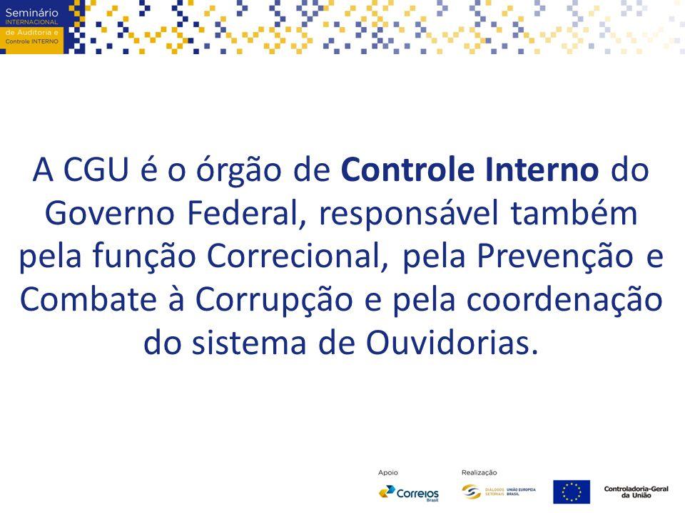 A CGU é o órgão de Controle Interno do Governo Federal, responsável também pela função Correcional, pela Prevenção e Combate à Corrupção e pela coorde