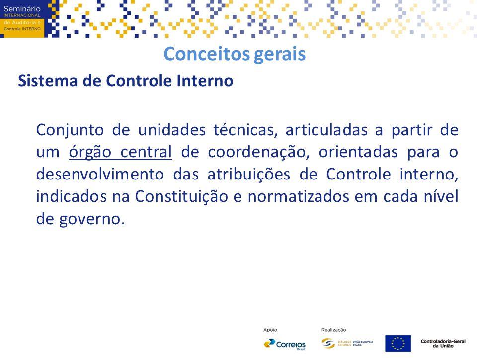 Conceitos gerais Sistema de Controle Interno Conjunto de unidades técnicas, articuladas a partir de um órgão central de coordenação, orientadas para o