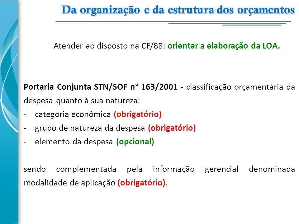 Atender ao disposto na CF/88: orientar a elaboração da LOA. Portaria Conjunta STN/SOF n° 163/2001 - classificação orçamentária da despesa quanto à sua