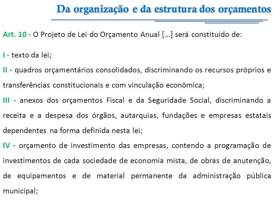 Art. 10 - O Projeto de Lei do Orçamento Anual [...] será constituído de: I - texto da lei; II - quadros orçamentários consolidados, discriminando os r