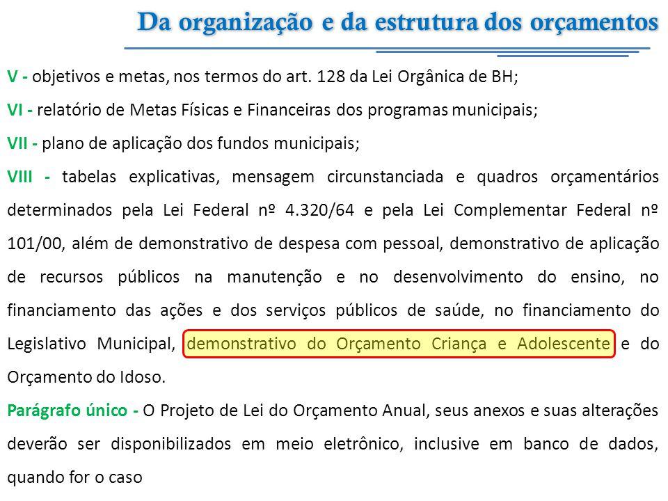 V - objetivos e metas, nos termos do art. 128 da Lei Orgânica de BH; VI - relatório de Metas Físicas e Financeiras dos programas municipais; VII - pla