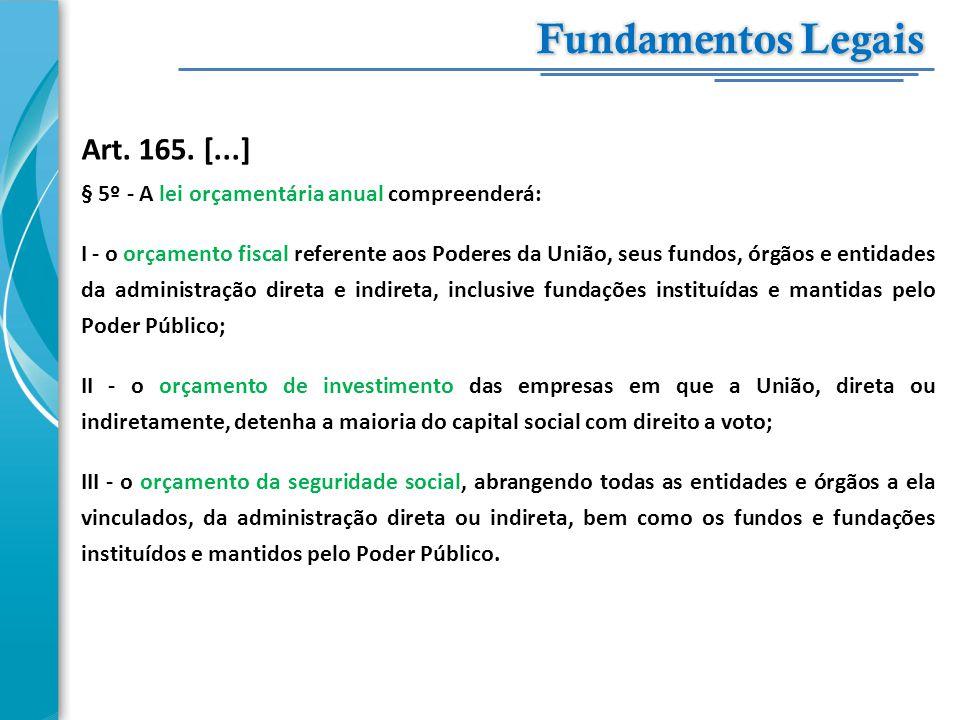 Art. 165. [...] § 5º - A lei orçamentária anual compreenderá: I - o orçamento fiscal referente aos Poderes da União, seus fundos, órgãos e entidades d
