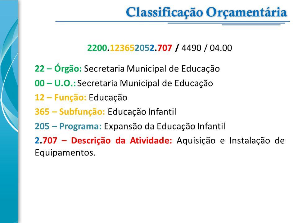 2200.123652052.707 / 4490 / 04.00 22 – Órgão: Secretaria Municipal de Educação 00 – U.O.: Secretaria Municipal de Educação 12 – Função: Educação 365 –