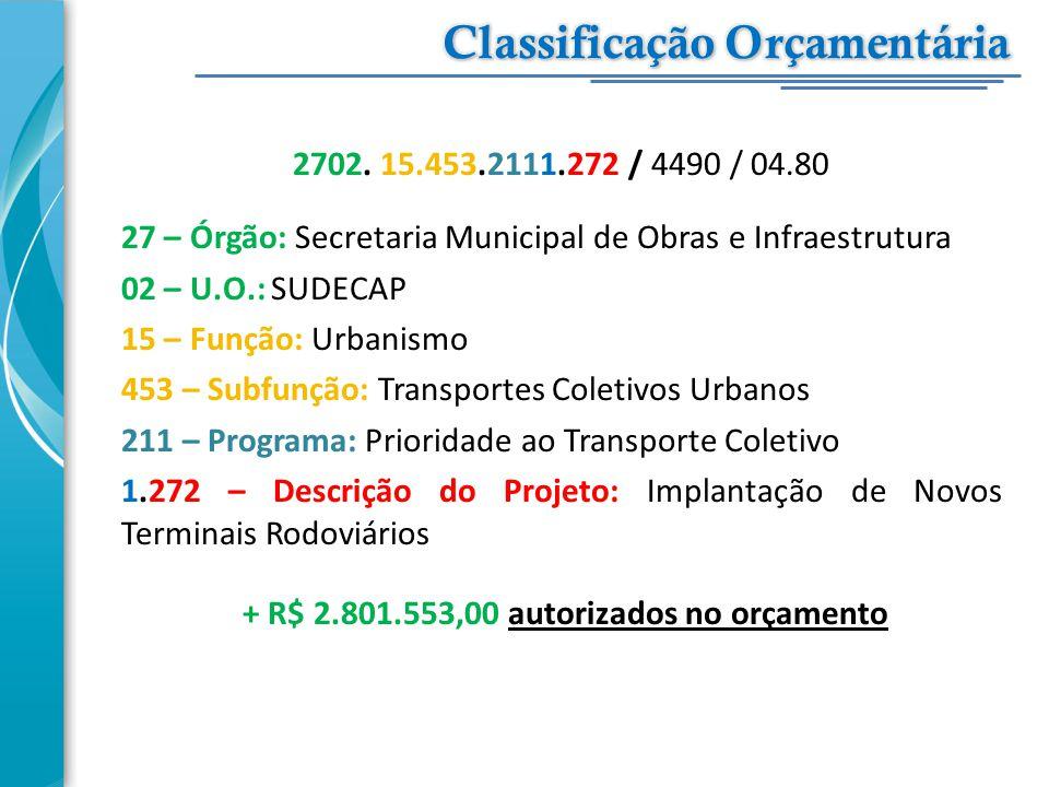 2702. 15.453.2111.272 / 4490 / 04.80 27 – Órgão: Secretaria Municipal de Obras e Infraestrutura 02 – U.O.: SUDECAP 15 – Função: Urbanismo 453 – Subfun