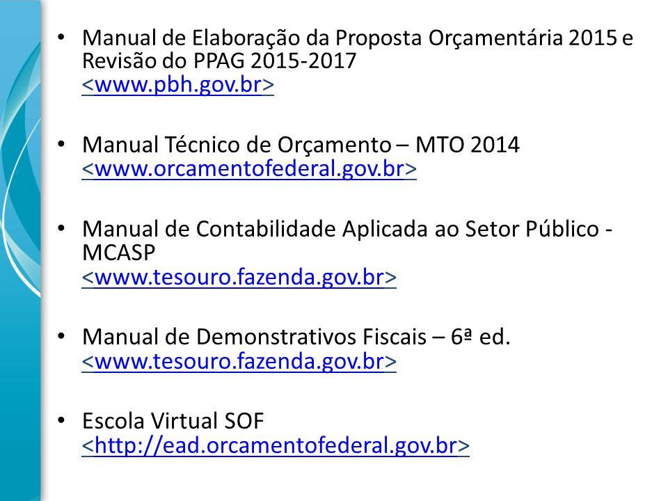 Manual de Elaboração da Proposta Orçamentária 2015 e Revisão do PPAG 2015-2017 www.pbh.gov.br Manual Técnico de Orçamento – MTO 2014 www.orcamentofede