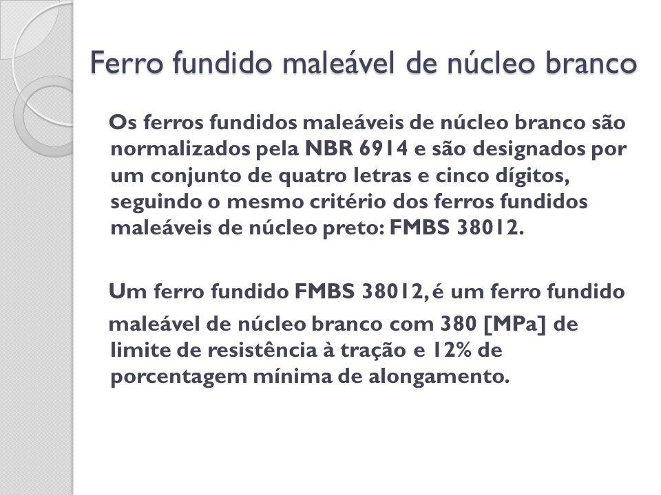 Ferro fundido maleável de núcleo branco Os ferros fundidos maleáveis de núcleo branco são normalizados pela NBR 6914 e são designados por um conjunto