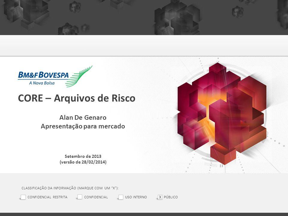 """CORE – Arquivos de Risco Alan De Genaro Apresentação para mercado Setembro de 2013 (versão de 28/02/2014) CLASSIFICAÇÃO DA INFORMAÇÃO (MARQUE COM UM """""""