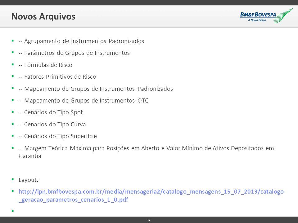 Novos Arquivos  -- Agrupamento de Instrumentos Padronizados  -- Parâmetros de Grupos de Instrumentos  -- Fórmulas de Risco  -- Fatores Primitivos