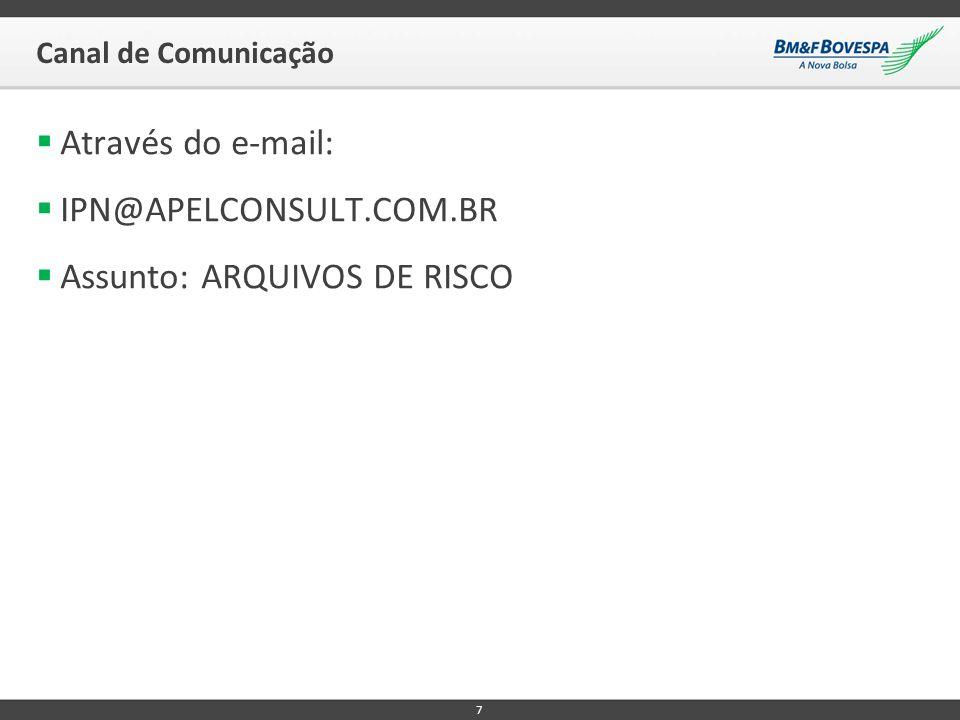 Canal de Comunicação  Através do e-mail:  IPN@APELCONSULT.COM.BR  Assunto: ARQUIVOS DE RISCO 7