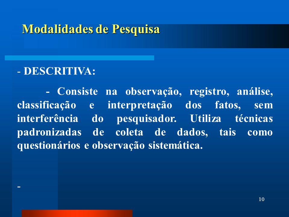 10 Modalidades de Pesquisa - DESCRITIVA: - Consiste na observação, registro, análise, classificação e interpretação dos fatos, sem interferência do pe
