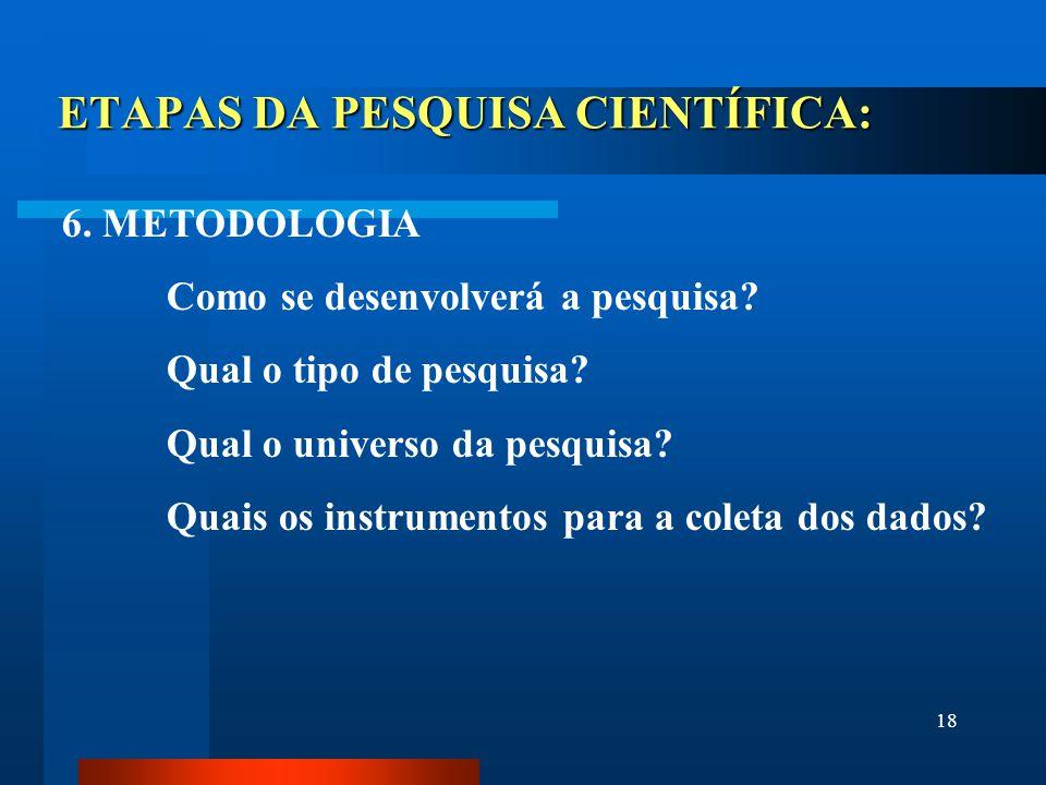 18 ETAPAS DA PESQUISA CIENTÍFICA: 6. METODOLOGIA Como se desenvolverá a pesquisa? Qual o tipo de pesquisa? Qual o universo da pesquisa? Quais os instr