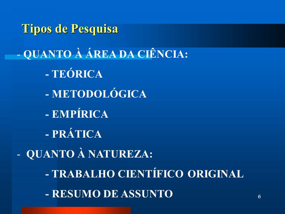 6 Tipos de Pesquisa - QUANTO À ÁREA DA CIÊNCIA: - TEÓRICA - METODOLÓGICA - EMPÍRICA - PRÁTICA - QUANTO À NATUREZA: - TRABALHO CIENTÍFICO ORIGINAL - RE