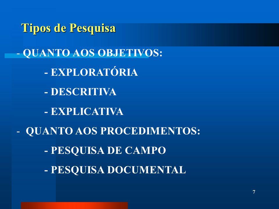 7 Tipos de Pesquisa - QUANTO AOS OBJETIVOS: - EXPLORATÓRIA - DESCRITIVA - EXPLICATIVA - QUANTO AOS PROCEDIMENTOS: - PESQUISA DE CAMPO - PESQUISA DOCUM