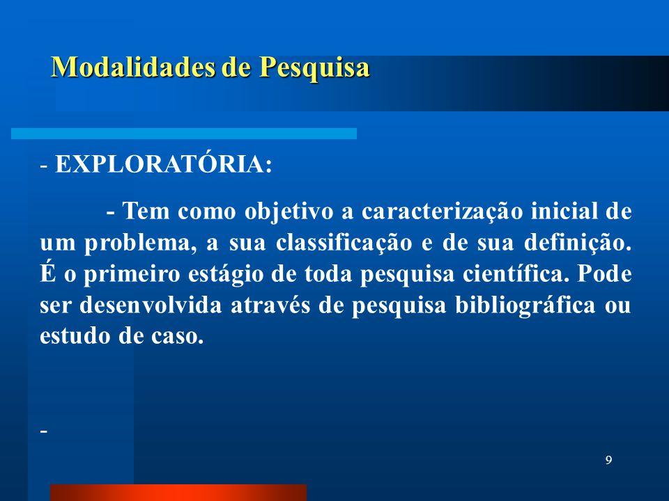 9 Modalidades de Pesquisa - EXPLORATÓRIA: - Tem como objetivo a caracterização inicial de um problema, a sua classificação e de sua definição. É o pri