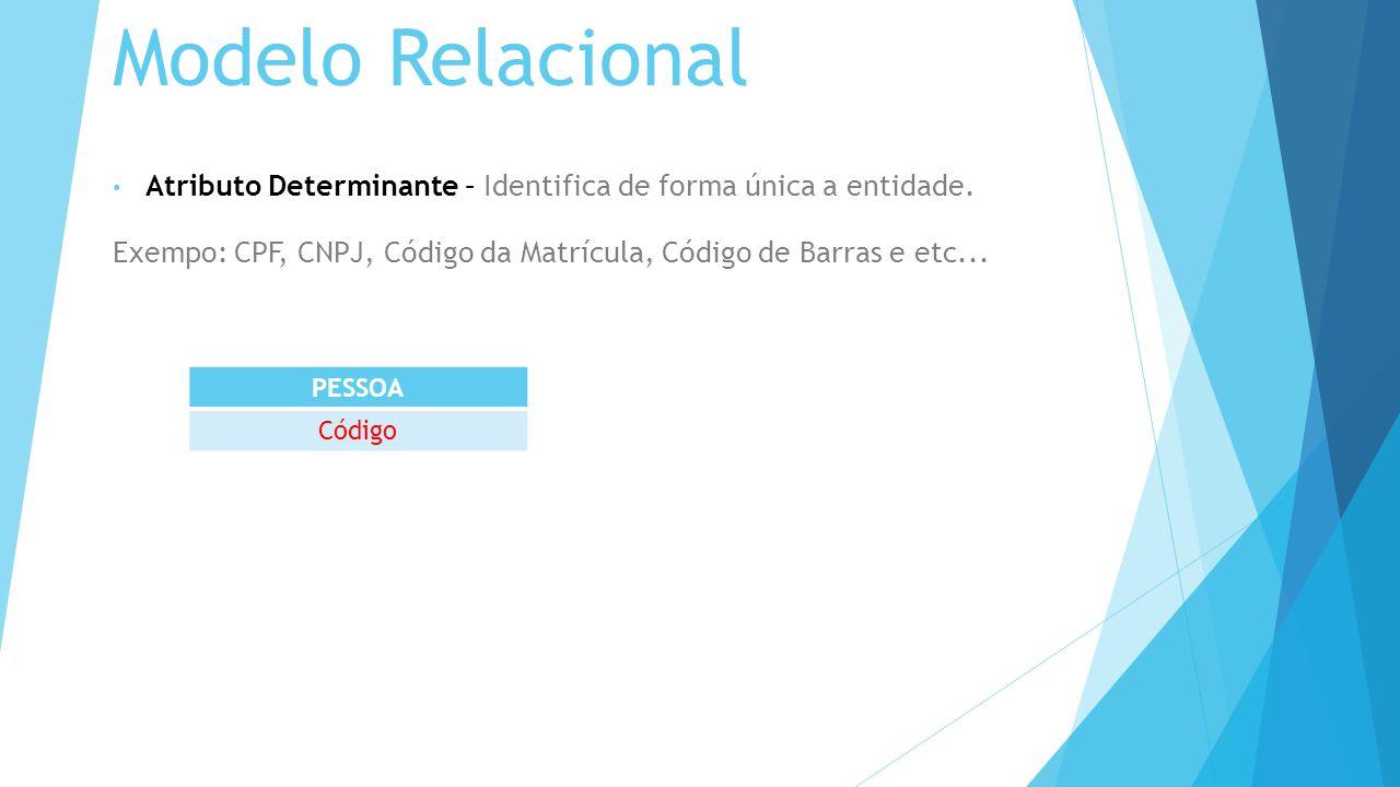 Modelo Relacional Atributo Determinante – Identifica de forma única a entidade.