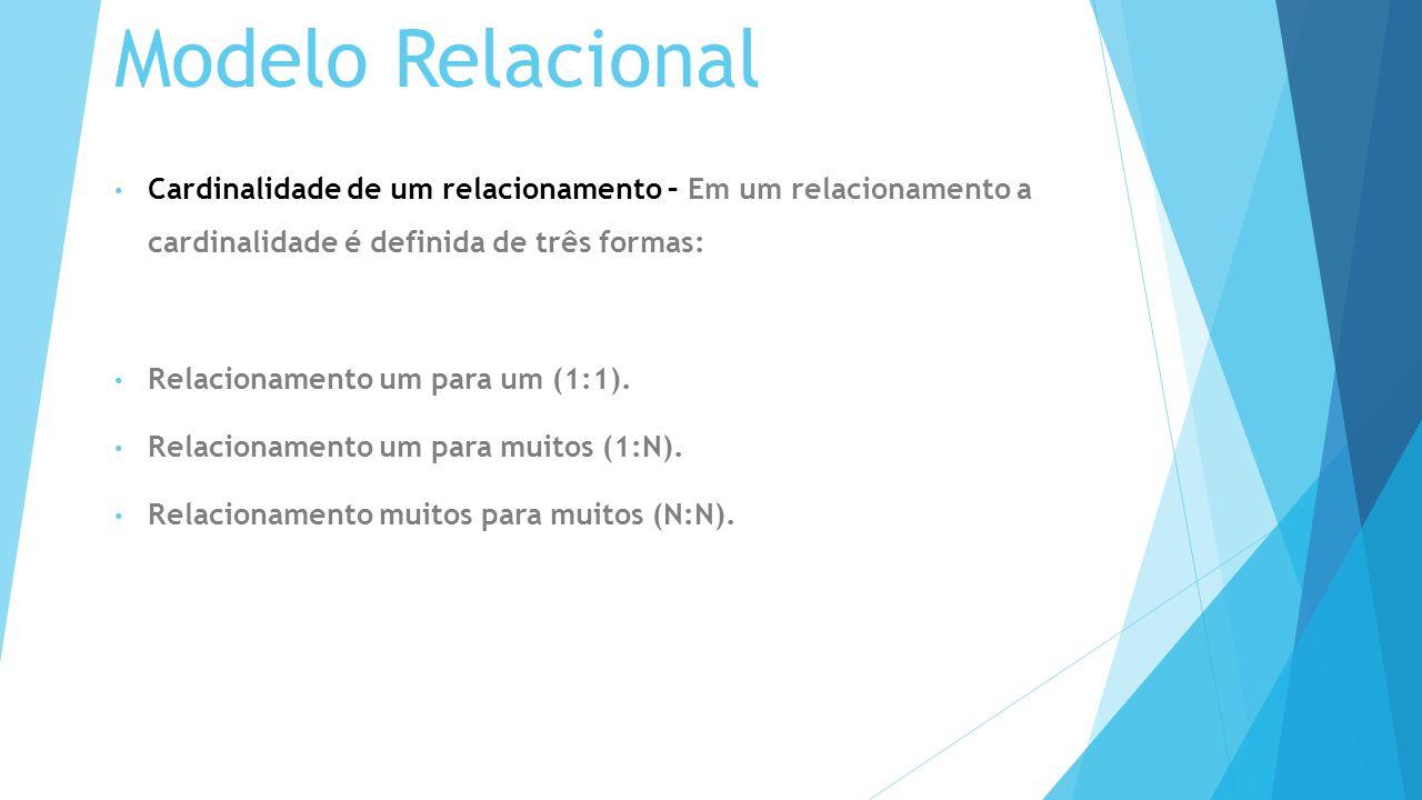 Modelo Relacional Cardinalidade de um relacionamento – Em um relacionamento a cardinalidade é definida de três formas: Relacionamento um para um (1:1).