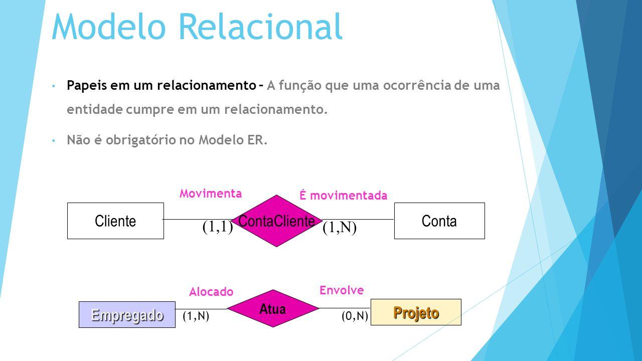 Modelo Relacional Papeis em um relacionamento – A função que uma ocorrência de uma entidade cumpre em um relacionamento.