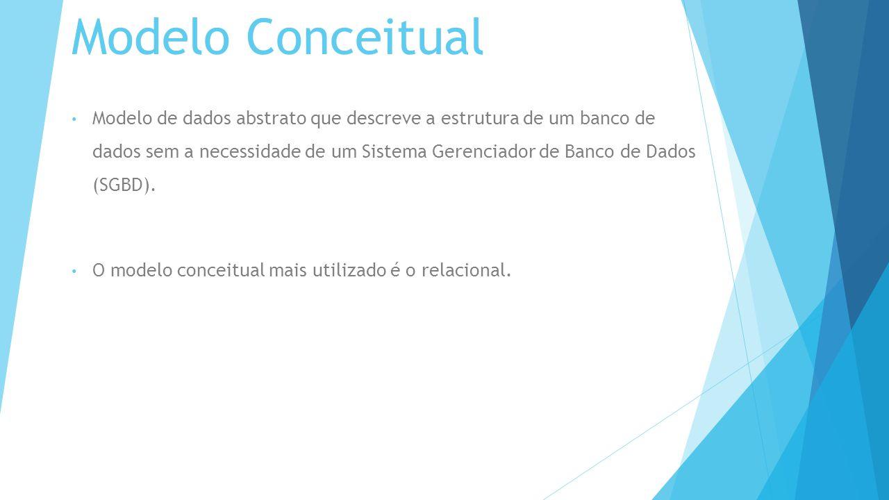 Modelo Conceitual Modelo de dados abstrato que descreve a estrutura de um banco de dados sem a necessidade de um Sistema Gerenciador de Banco de Dados (SGBD).
