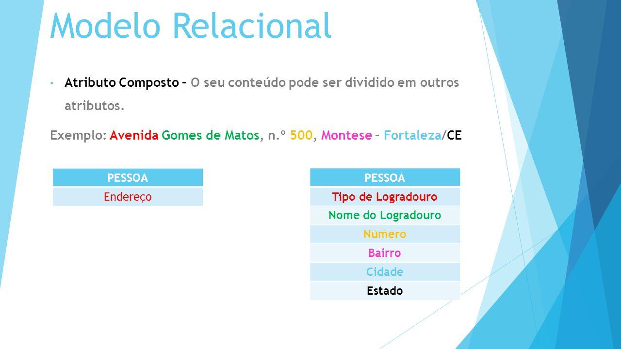 Modelo Relacional Atributo Composto – O seu conteúdo pode ser dividido em outros atributos.