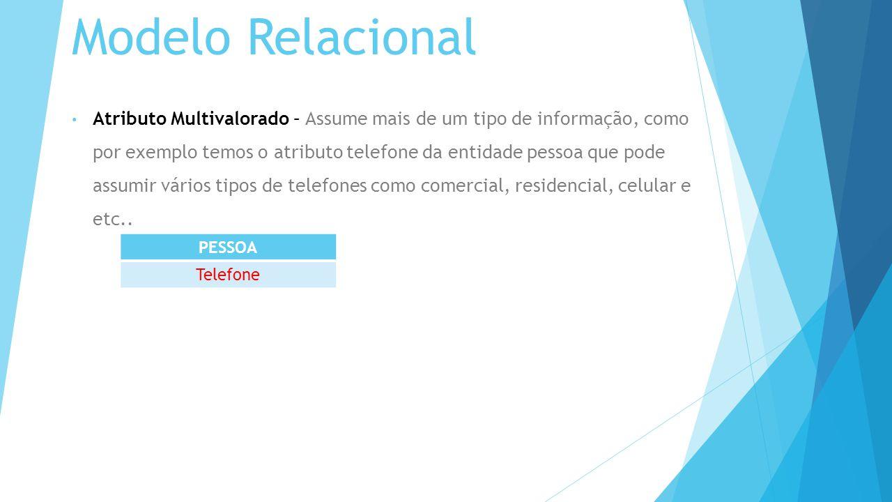 Modelo Relacional Atributo Multivalorado – Assume mais de um tipo de informação, como por exemplo temos o atributo telefone da entidade pessoa que pode assumir vários tipos de telefones como comercial, residencial, celular e etc..