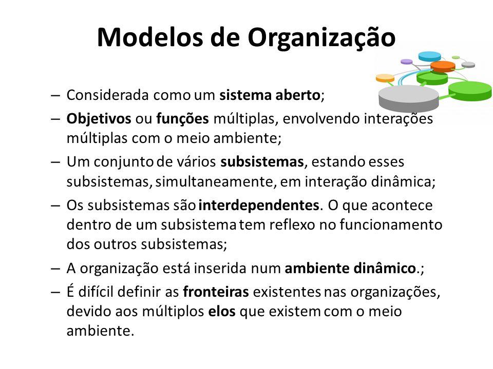 Modelos de Organização – Considerada como um sistema aberto; – Objetivos ou funções múltiplas, envolvendo interações múltiplas com o meio ambiente; – Um conjunto de vários subsistemas, estando esses subsistemas, simultaneamente, em interação dinâmica; – Os subsistemas são interdependentes.