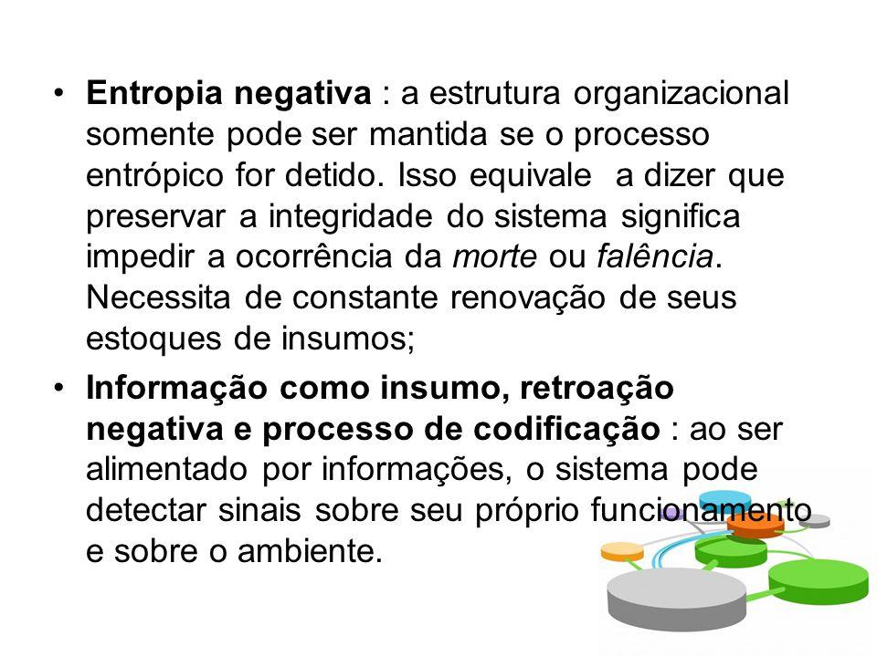 Entropia negativa : a estrutura organizacional somente pode ser mantida se o processo entrópico for detido.