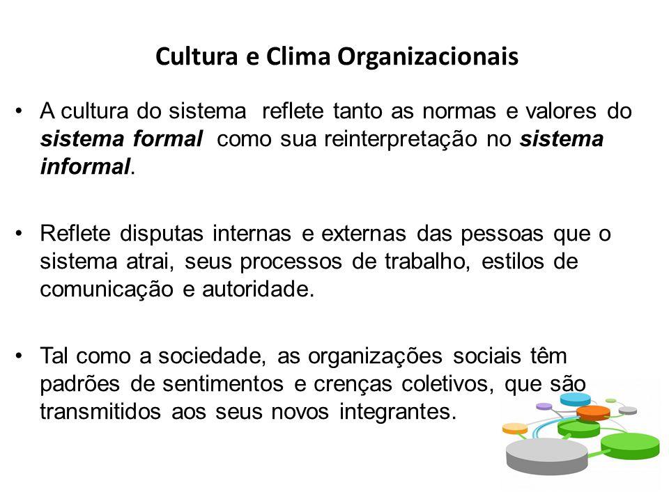 Cultura e Clima Organizacionais A cultura do sistema reflete tanto as normas e valores do sistema formal como sua reinterpretação no sistema informal.