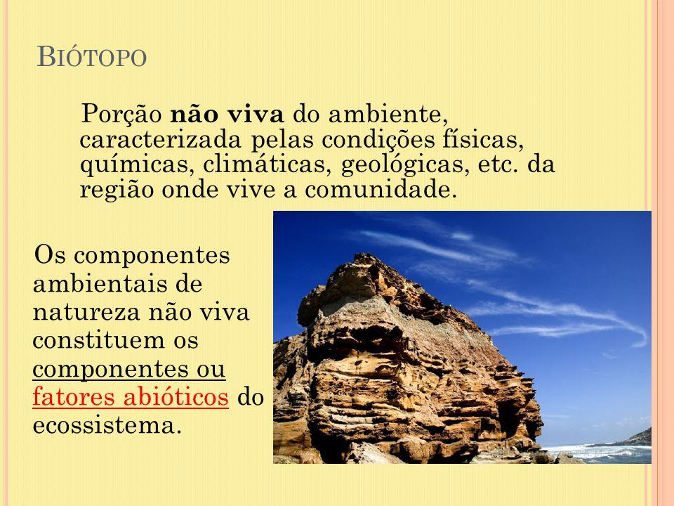 B IÓTOPO Porção não viva do ambiente, caracterizada pelas condições físicas, químicas, climáticas, geológicas, etc. da região onde vive a comunidade.
