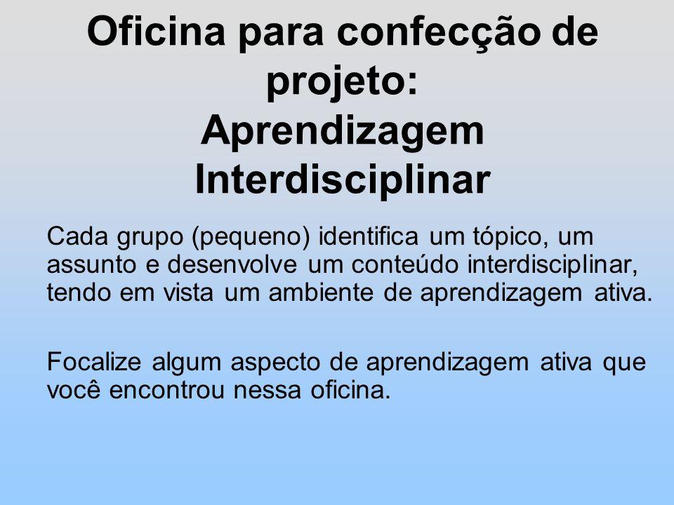 Oficina para confecção de projeto: Aprendizagem Interdisciplinar Cada grupo (pequeno) identifica um tópico, um assunto e desenvolve um conteúdo interdisciplinar, tendo em vista um ambiente de aprendizagem ativa.