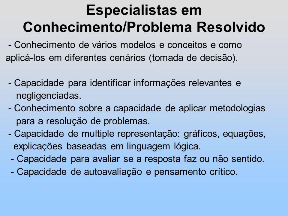 Especialistas em Conhecimento/Problema Resolvido - Conhecimento de vários modelos e conceitos e como aplicá-los em diferentes cenários (tomada de decisão).