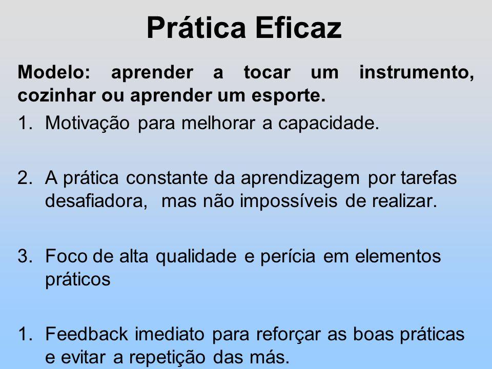 Prática Eficaz Modelo: aprender a tocar um instrumento, cozinhar ou aprender um esporte.
