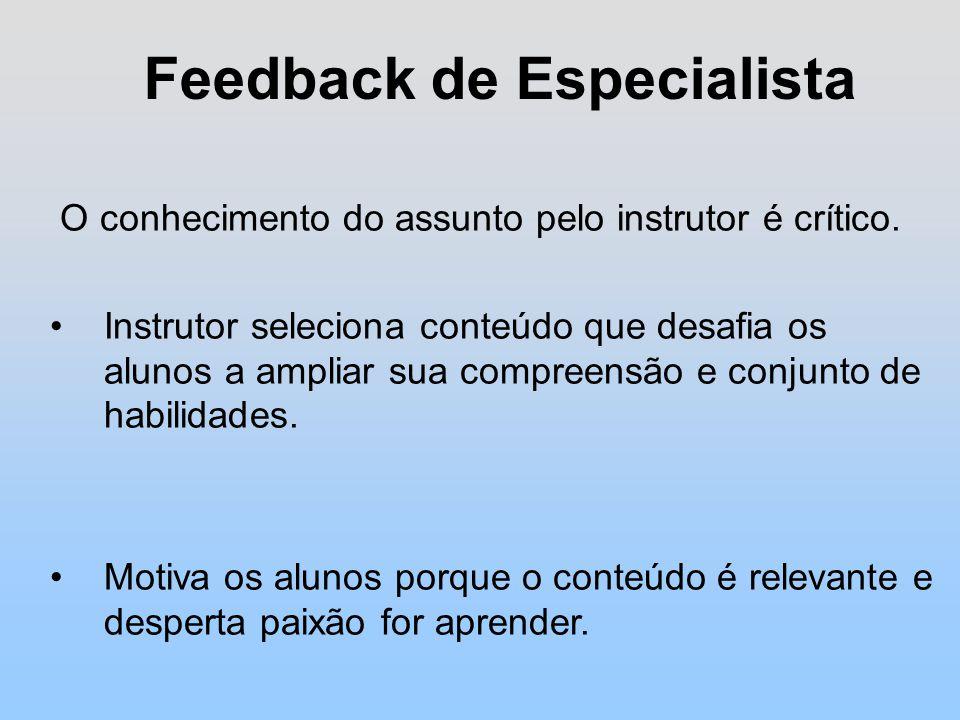 Feedback de Especialista O conhecimento do assunto pelo instrutor é crítico.