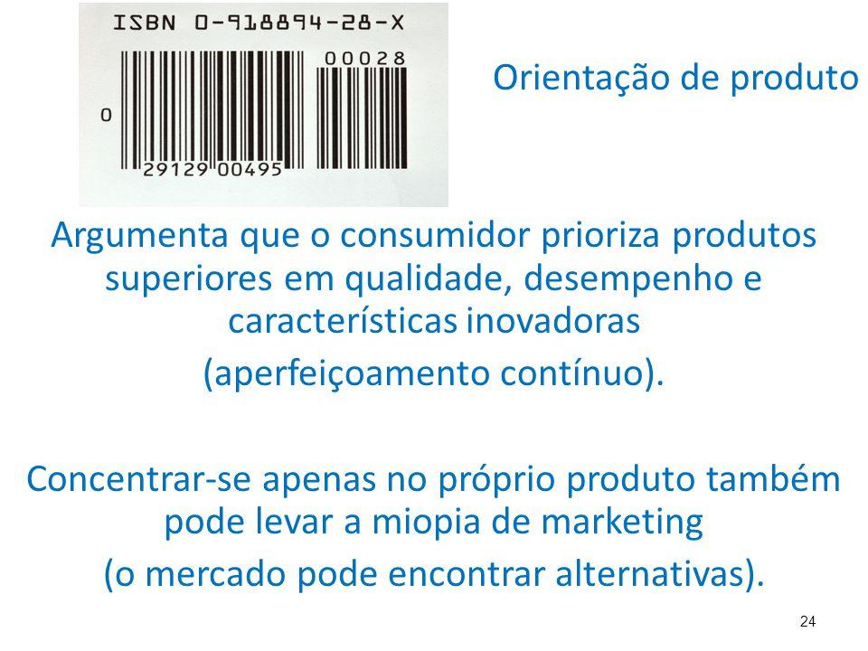 24 Orientação de produto Argumenta que o consumidor prioriza produtos superiores em qualidade, desempenho e características inovadoras (aperfeiçoamento contínuo).