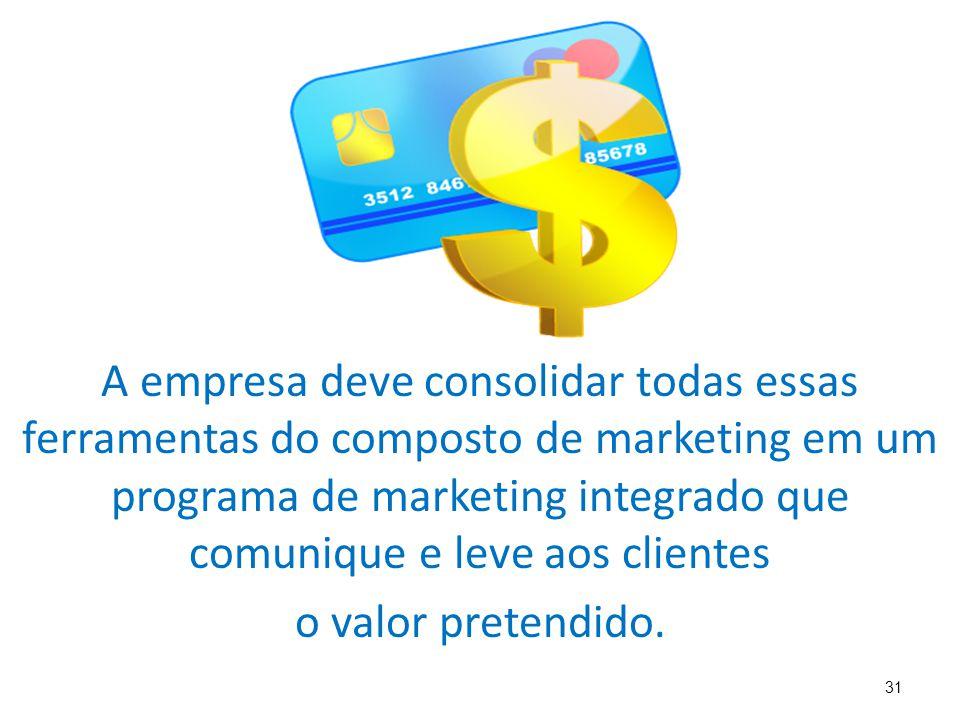 31 A empresa deve consolidar todas essas ferramentas do composto de marketing em um programa de marketing integrado que comunique e leve aos clientes o valor pretendido.