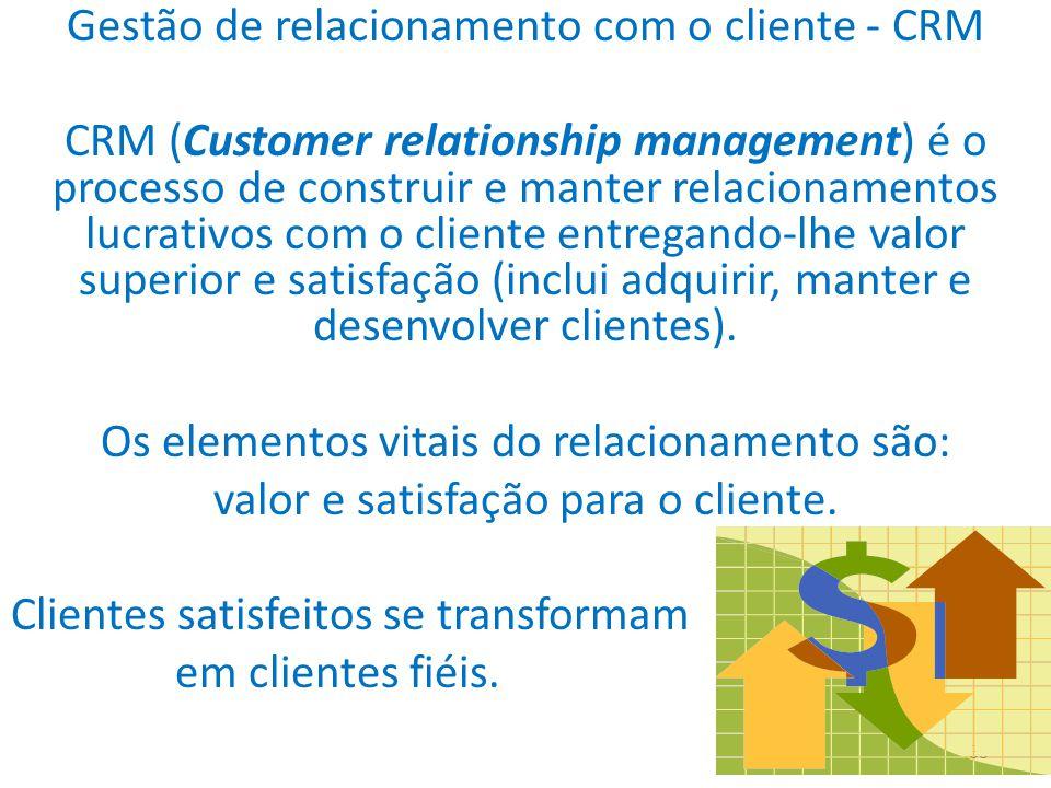 33 Gestão de relacionamento com o cliente - CRM CRM (Customer relationship management) é o processo de construir e manter relacionamentos lucrativos com o cliente entregando-lhe valor superior e satisfação (inclui adquirir, manter e desenvolver clientes).
