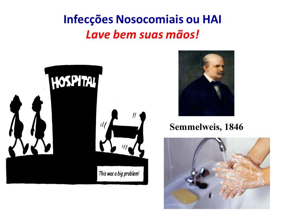Infecções Nosocomiais ou HAI Lave bem suas mãos! Semmelweis, 1846