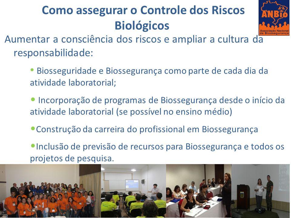 Como assegurar o Controle dos Riscos Biológicos Aumentar a consciência dos riscos e ampliar a cultura da responsabilidade: Biosseguridade e Biossegura