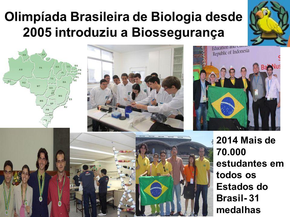 Olimpíada Brasileira de Biologia desde 2005 introduziu a Biossegurança 2014 Mais de 70.000 estudantes em todos os Estados do Brasil- 31 medalhas 70.00