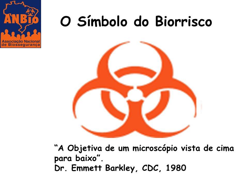 """O Símbolo do Biorrisco """"A Objetiva de um microscópio vista de cima para baixo"""". Dr. Emmett Barkley, CDC, 1980"""